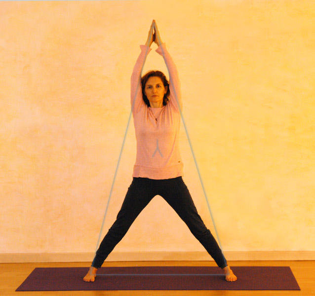 Leite von der Form des Dreiecks die Mitte ab. Aus diesem Bereich (Sonnengeflecht) wird die Bewegung geführt und gehalten.