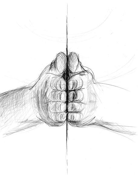 Hände bilden eine Fläche