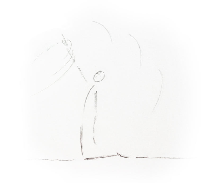 Yogaübung Kamel, Skizze Luft wahrnehmen