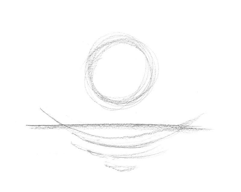 Skizze zur Taube einsinken und runden